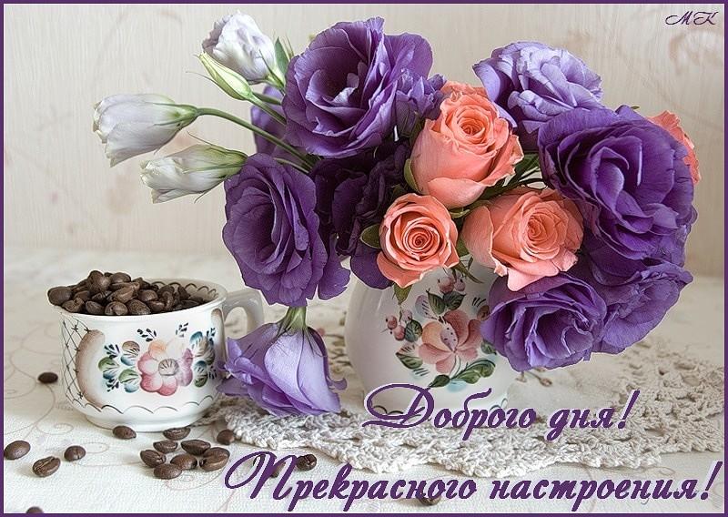 открытки цветы с пожеланием хорошего дня и отличного настроения
